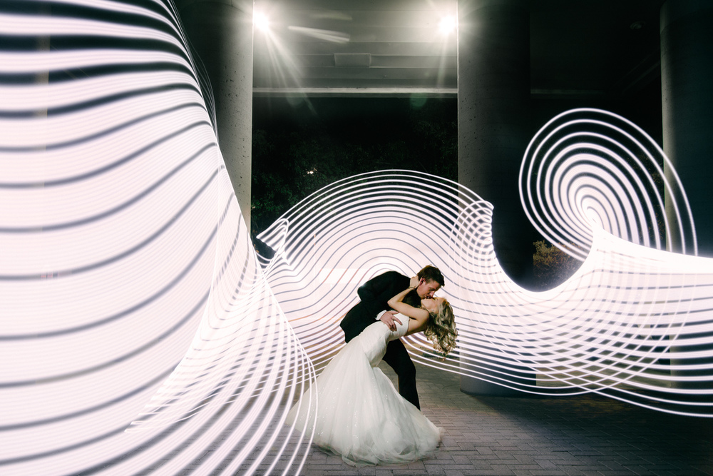 Poetry in motion. A beautifully composed shot where pixelstick accentuates the movement of the couple without upstaging them. Courtesy of Lear Miller Photography