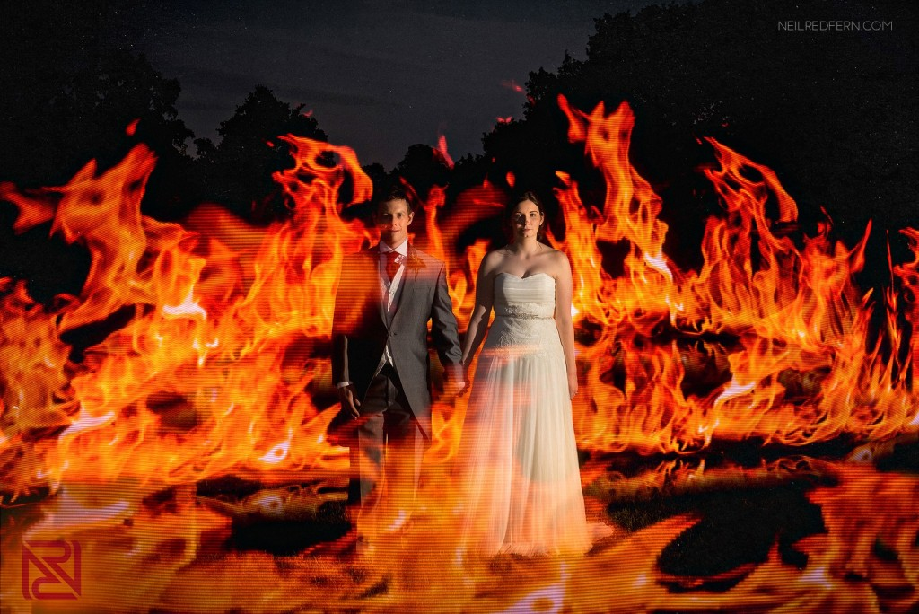 Between pixelstick, photoshop, and actually lighting the bride and groom on fire, pixelstick is the clear choice for achieving this affect. Courtesy of Neil Redfern