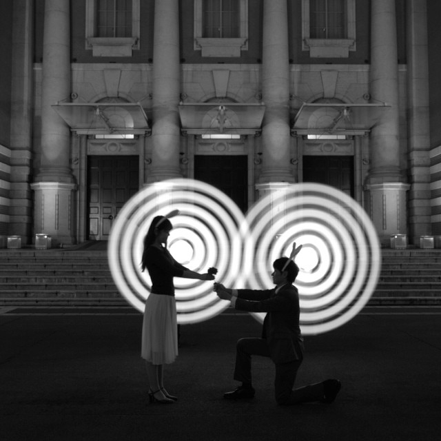 Not really a portrait so much as a staged proposal shot. Love the spun pixelstick images in the background.