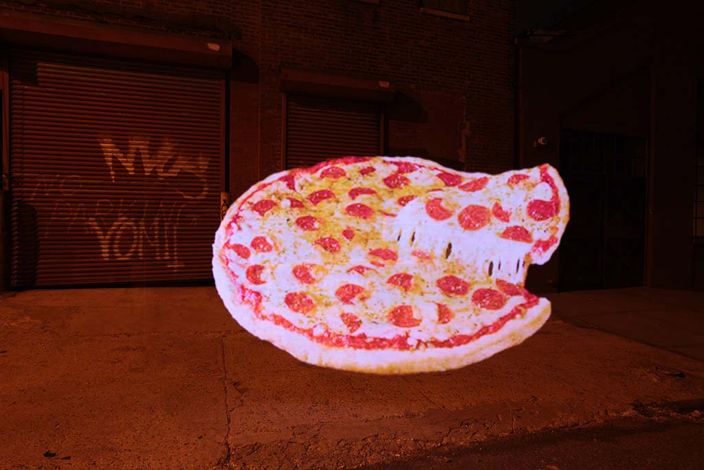 "A giant Pepperoni Pizza in Brooklyn. ""Low"" art."