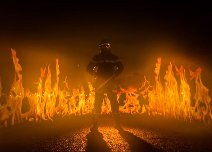 An excellent fiery image effect that not only looks like realistic fire, but spilled very realistic hot light all over the frame. Difficult to fake in post! Courtesy of Frederic Leroux.