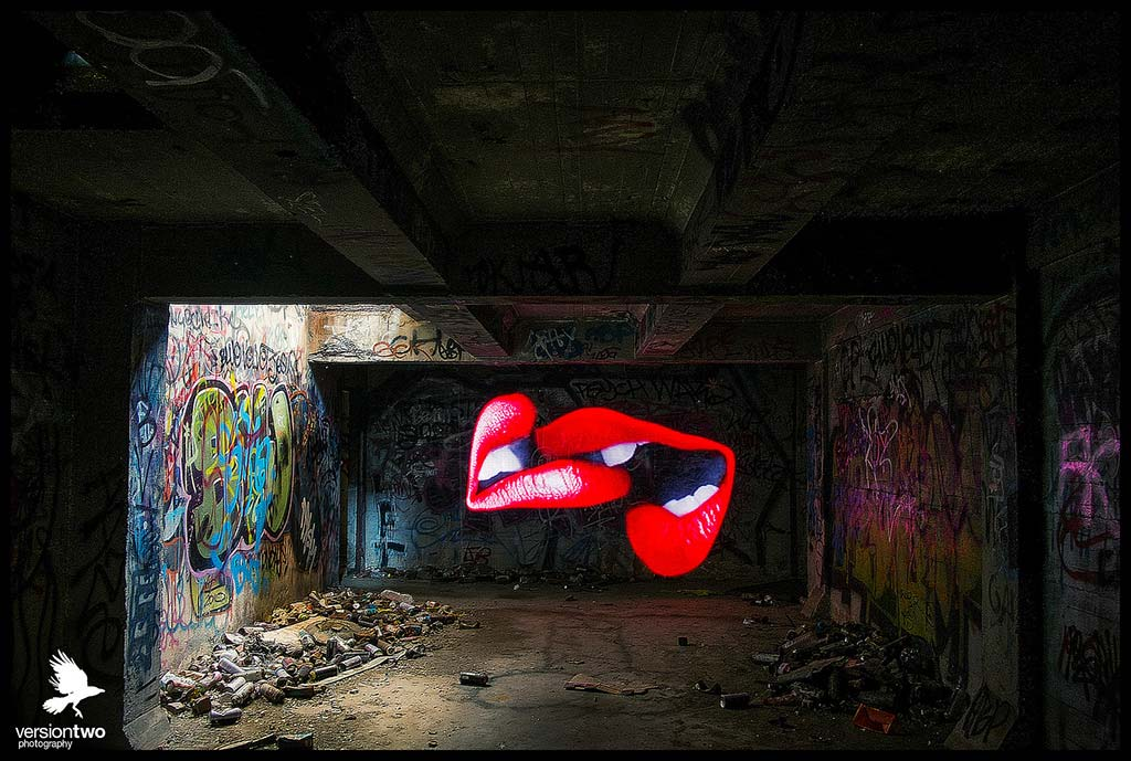 Lightpainted lip-lock. Courtesy of VersionTwo photography.