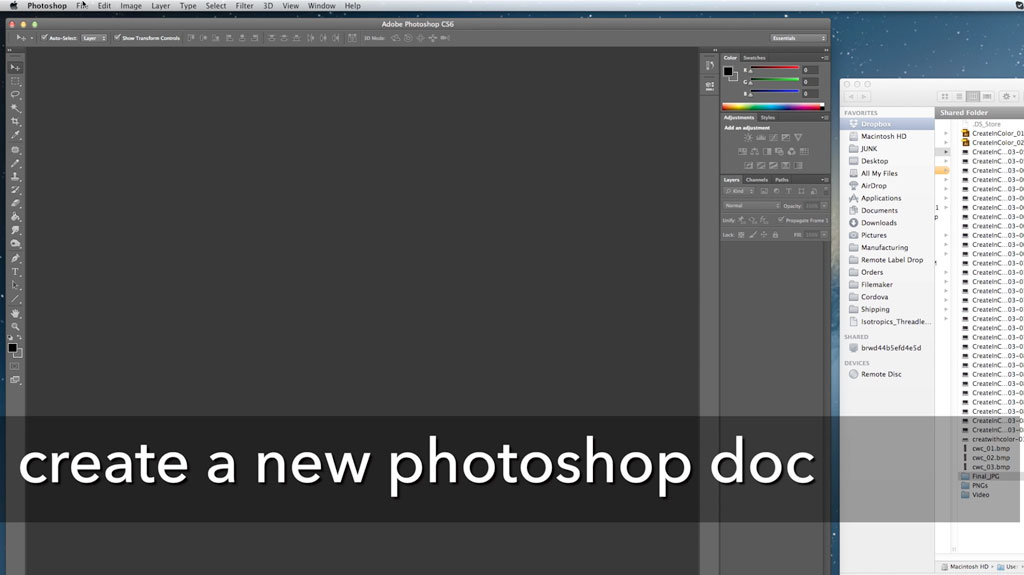 Open up photoshop to an empty document. You're going to be pulling everything you just shot in.