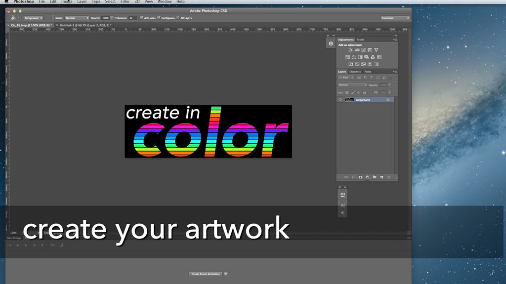 To begin, open artwork you already have or create new artwork from scratch. Make sure the image is 200px tall.