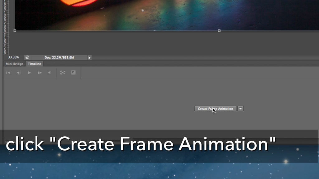 Use the animation window at the bottom to Create Frame Animation. If your animation window is not visible, go to Window->Timeline to bring it up.
