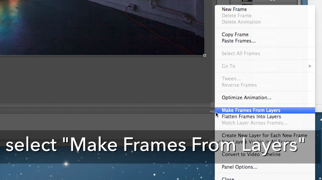 On the right side of the animation window is a small flyout menu. Select Make Frames from Layers