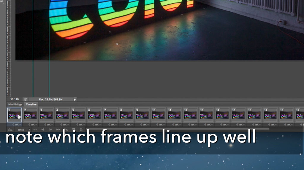 Now go through the frames one by one and note which frames aren't lining up well. Best to just scrawl them on a pad by frame number.