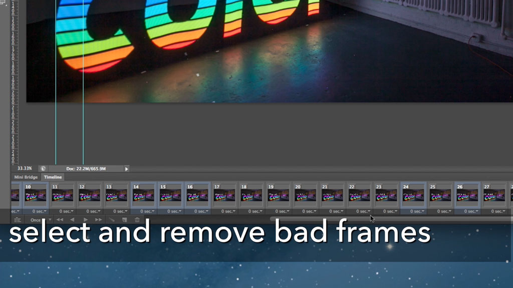 Now you can go through and option-select (or control-select) the bad frame numbers and click the trashcan icon to get rid of the ones that aren't lining up well.