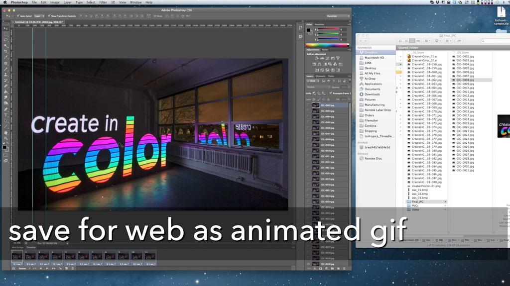 Go to File->Save For Web and select Animated GIF