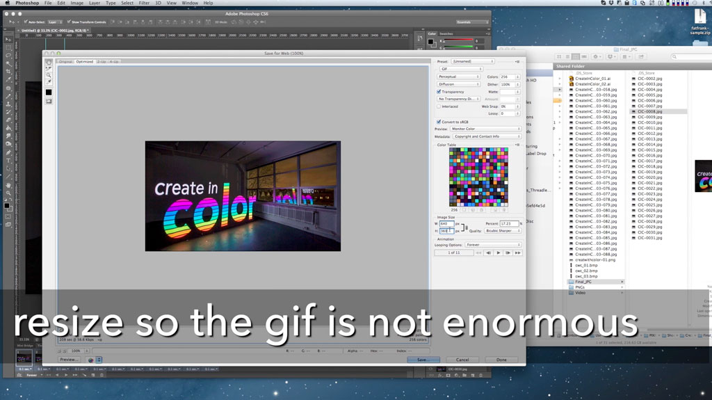 Use the Image Panel menu to create a GIF of reasonable dimensions - otherwise your GIF will be unreasonably large.