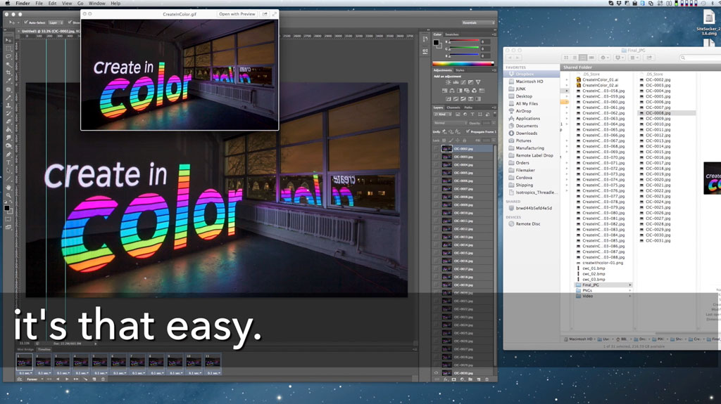 All done! You can also use Photoshop to render it into video instead of a GIF by going to File->Export->Render Video